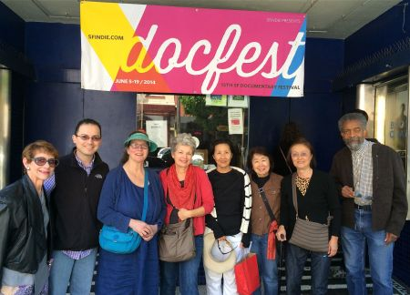 Ride with Larry co-director Ricardo Villarreal (second from left) with film fans at the Docfest film showing at the Roxy Theaere.